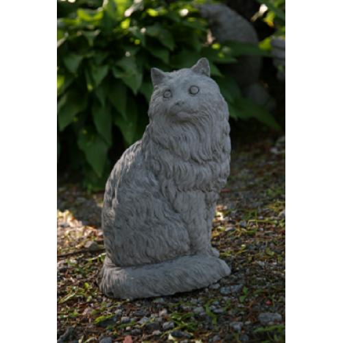 Concrete Long Hair Cat Statue